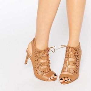 Tan Lace Up Heel Sandals Wide Fit Cutouts